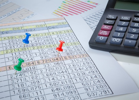Graphs, charts, business table. The workplace of business people. photo