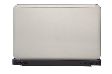 Style compact white laptop isolated over white photo