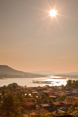 Scenic view on town and Mekong river in Thailand photo