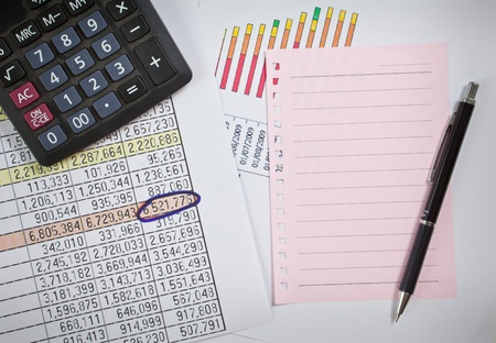 Graphs, charts, business table. The workplace of business people. Stock Photo - 13227233