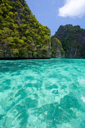 Cliff and the clear sea Phi Phi Leh south of Thailand photo