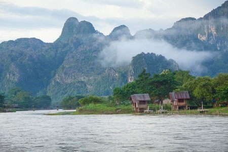 laos: Village and mountain in Vang Vieng, Laos