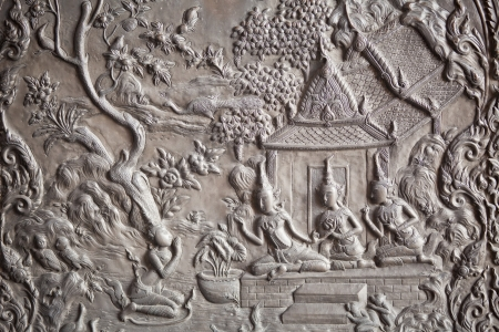 stone carving: Carved stone at erawan museum,Thailand