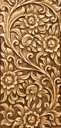 antique asian: Pattern of flower carved on wood background