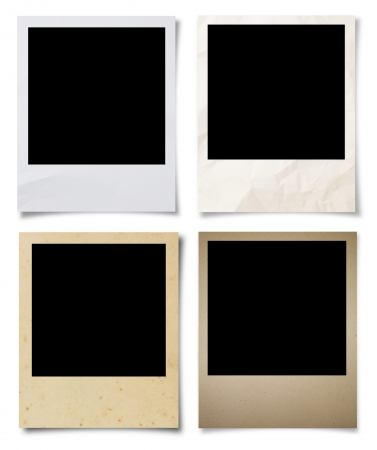 black picture frame: collection Blank photos frames isolated on white background