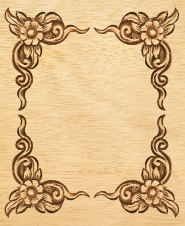 Pattern of wood frame carve flower on white background Stock Photo - 13616832