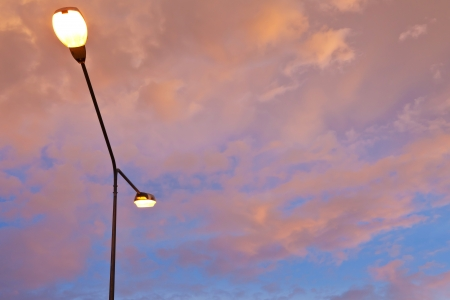 Street light against twilight as background photo
