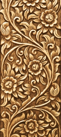 Pattern of flower carved on wood background Stock Photo - 13643176