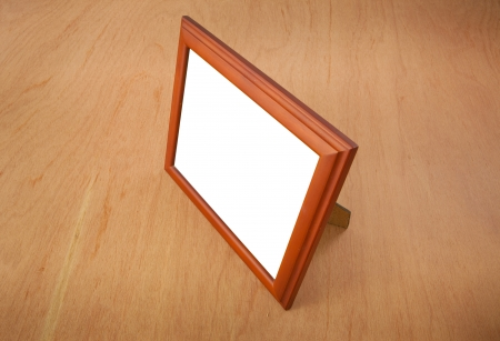 Photo frames on the table wood background photo