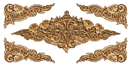 wood carving: Pattern of wood frame carve flower on white background