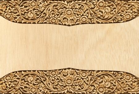 carve: Pattern of wood frame carve flower on wood background