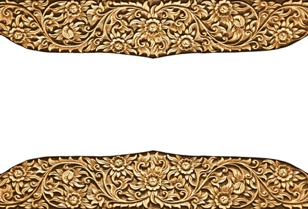 thai painting: Pattern of wood frame carve flower on white background