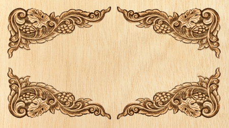 Pattern of wood frame carve flower on white background Stock Photo - 13775498