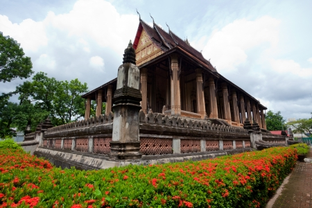 vientiane: Buddhist temple with blue sky in Laos