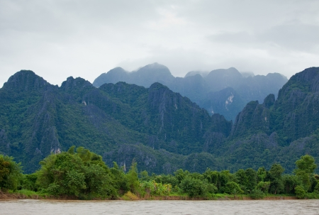 laos: river and mountain in Vang Vieng, Laos Stock Photo