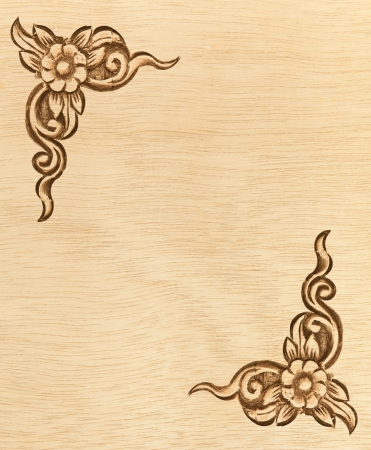 Pattern of wood frame carve flower on white background Stock Photo - 13851075