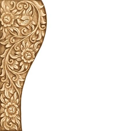 textuur: Patroon van houten frame carve bloem op witte achtergrond