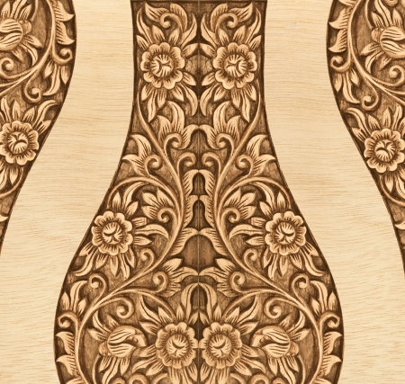 Pattern of flower carved frame on white background Stock Photo - 13880567