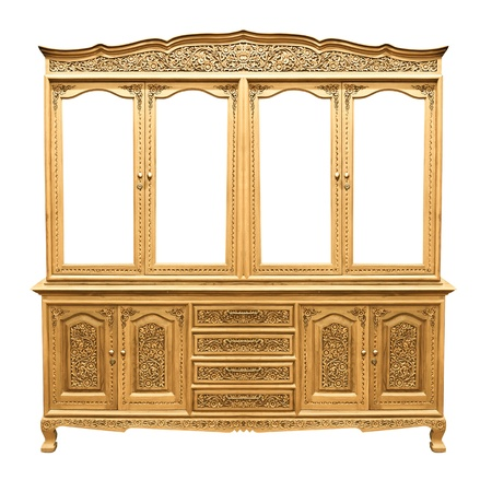 wooden cabinet classic over white background photo