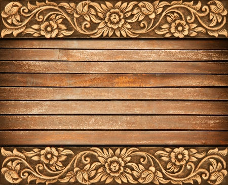 Pattern of wood frame carve flower on wood background