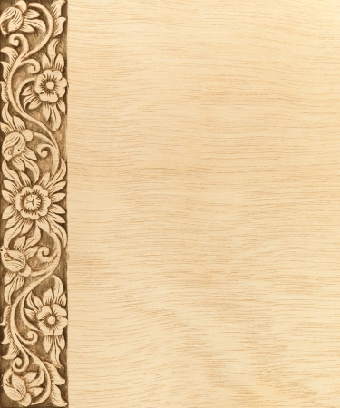 Pattern of wood frame carve flower on wood background Stock Photo - 14037589