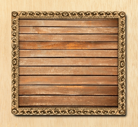 Pattern of wood frame carve on wood background Stock Photo - 14037626