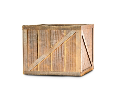 crate: wooden box isolated on white background