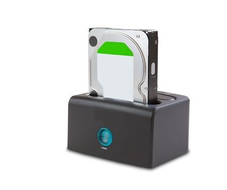 Docking station for hard disk isolated on white photo