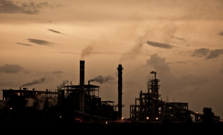 Industry plant during sunset in Thailand photo