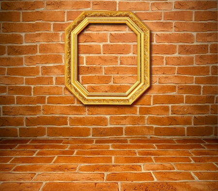 gold frame on the orange brickwall photo