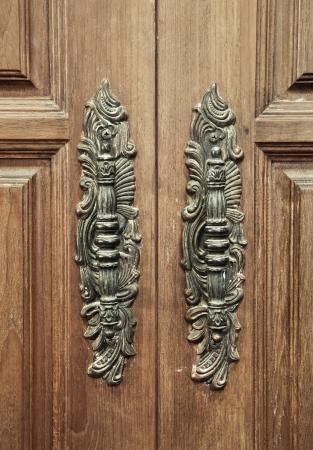 old vintage classic wood furniture door handle photo