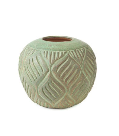 antique vase: flower pot isolated on the white background