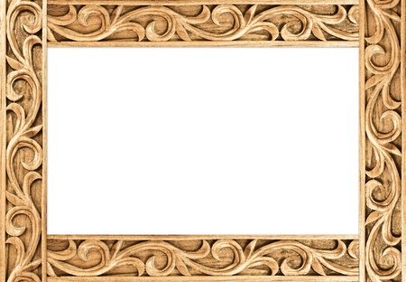 Pattern of flower carved frame on white background Stock Photo - 14521852