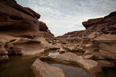 chasm: The Amazing of Rock in Mekong River, Ubon Ratchathani, Thailand. Stock Photo