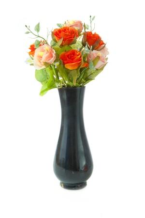 Black Vase Flower Isolated On White Background Stock Photo Picture