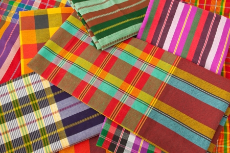 colorful plaid fabric collection pattern as background photo