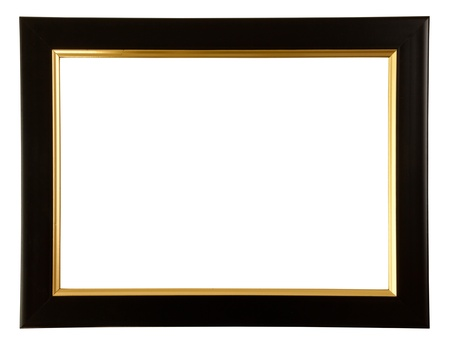 Gold and black color frame on white background photo