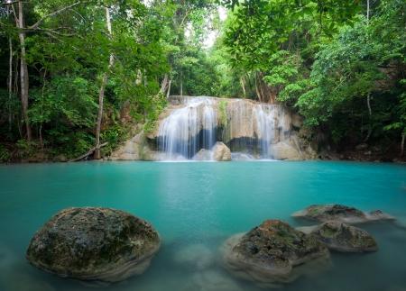 eravan: beautiful nature Eravan Waterfall in Kanchanaburi, Thailand Stock Photo