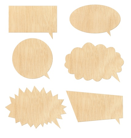 Retro speech bubbles from wood on white background photo