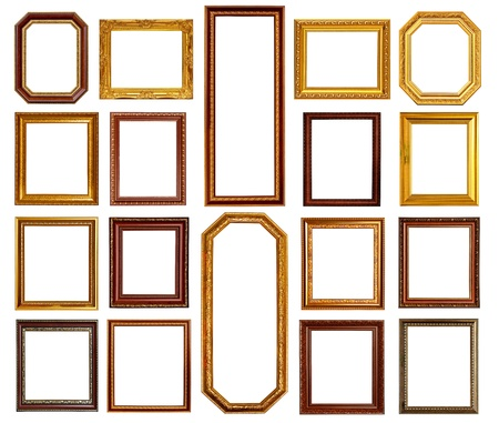 marco madera: Colecci�n de oro y marco de madera sobre fondo blanco
