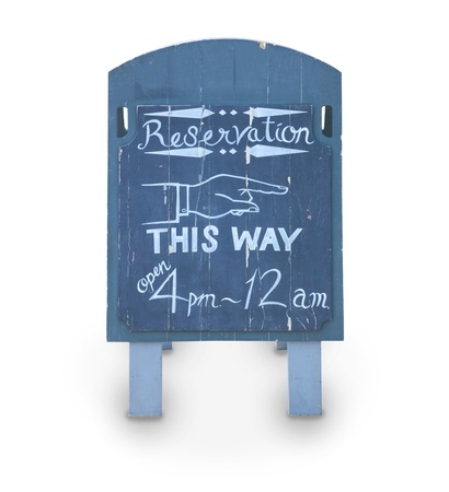 reservation: reservation blue wood board with drinks and food on white Stock Photo