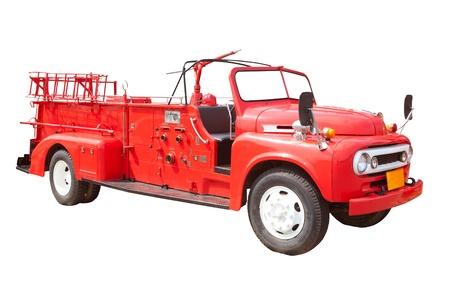 voiture de pompiers: Vieux camion de pompiers vintage isolée sur fond blanc