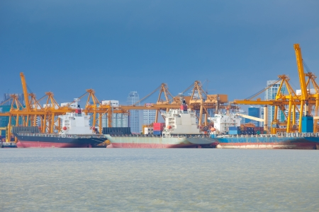 marine industry: Industrial shipping port on sunset in Bangkok, Thailand