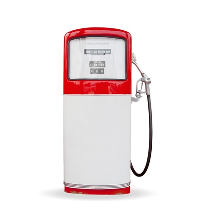 refuel: red vintage gasoline pump over white background