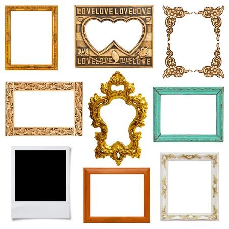 spiegelbeeld: Goud en houten frame collectie op witte achtergrond Stockfoto