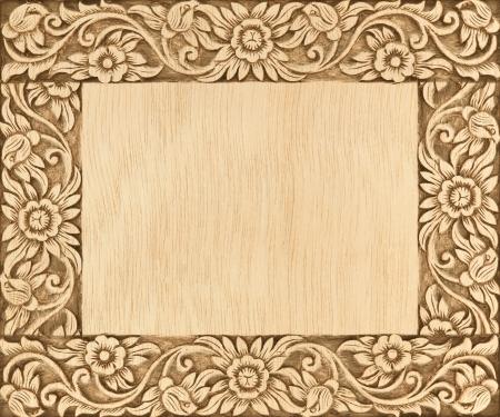 Muster der Blume geschnitzten Rahmen auf Holz Hintergrund Standard-Bild - 15299332