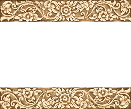 Pattern of flower carved frame on white background Stock Photo