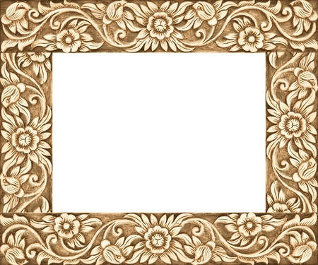 timber frame: Pattern of flower carved frame on white background Stock Photo