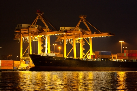 Industrial shipping port on sunset in Bangkok, Thailand photo