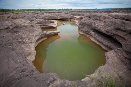 Sampanbok (3000 Hole), The Amazing of Rock in Mekong River, Ubon Ratchathani, Thailand. photo